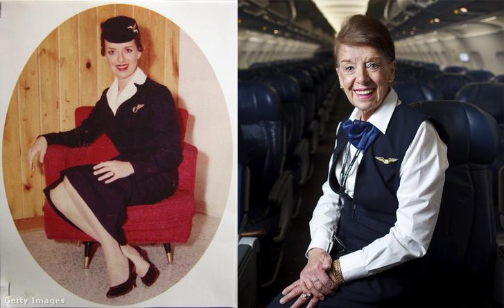 Jobb oldalt: Bette Nash az 1950-es évek végén. Bal oldalt: 2014. december 12-én
