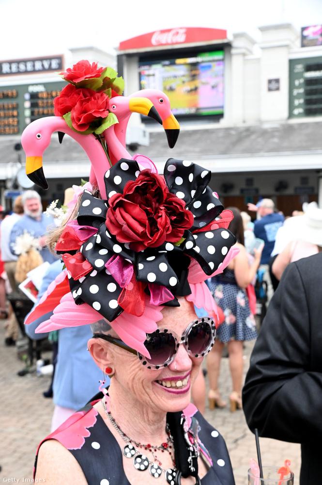 Akár Lady Gaga is megirigyelhetné az idős hölgyet, aki flamingókat viselt a feje tetején.