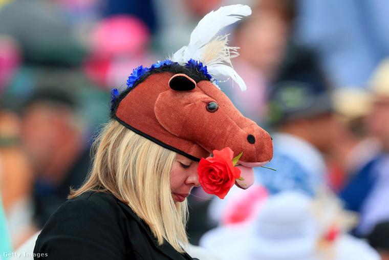Nemcsak flamingó, a derbihez hűen egy lófej is a fejre került.