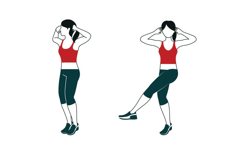 Végezz tarkóra tett kézzel, felemelt, nyújtott lábbal széles, kaszáló mozdulatokat 2 percig folyamatosan, tempósan, majd cserélj lábat.