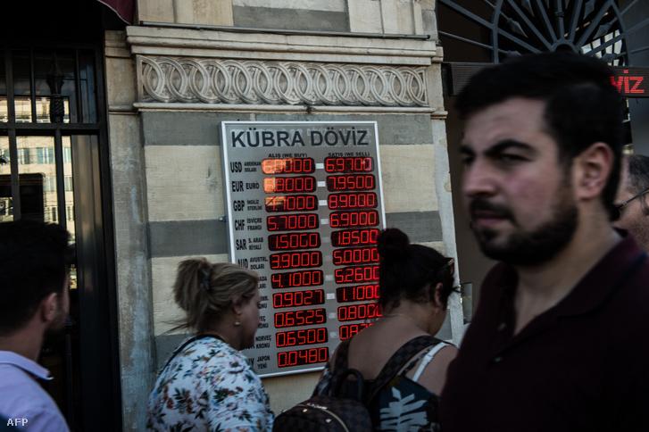 Isztambuli pénzváltó az aktuális árfolyamokkal 2018. augusztus 13-án