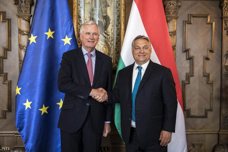 Orbán Viktor miniszterelnök (j) és Michel Barnier az Európai Bizottság brit kiválás ügyében felelős főtárgyalójának találkozója az Országházban 2018. június 4-én.