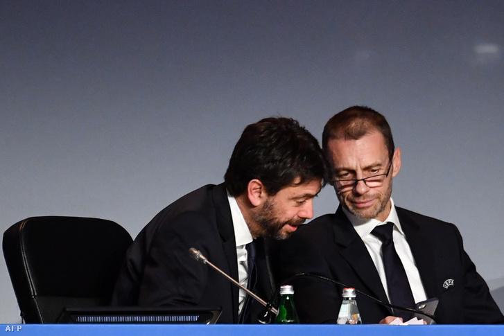 Andrea Agnelli és Aleksander Čeferin az Európai Labdarúgó-szövetség elnöke