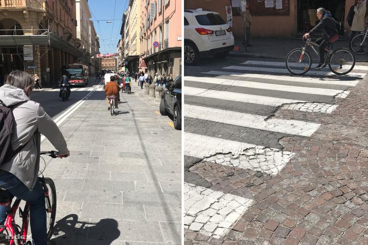 A Via Ugo Bassi nagyköves és a Via San Felice aszfalt-macskakő hibrid burkolata