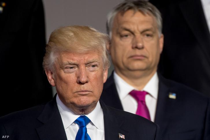 Donald Trump amerikai elnök és Orbán Viktor 2017-ben, Brüsszelben