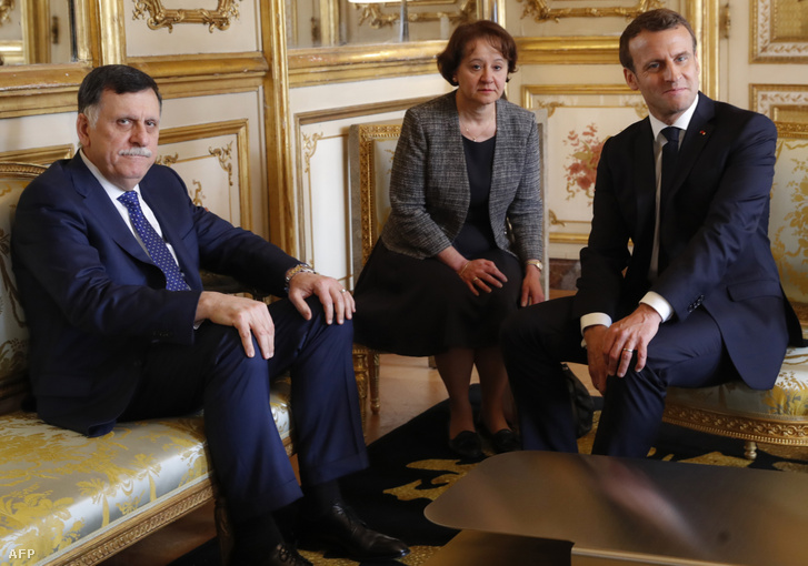 Fajez asz-Szarrádzs és Emmanuel Macron találkozója Párizsban, 2019. május 8-án