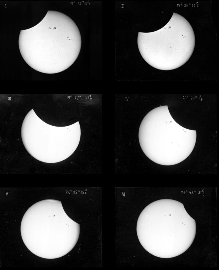 Az 1882-es részleges napfogyatkozás hat fázisa, kitűnően megfigyelhető napfoltokkal.