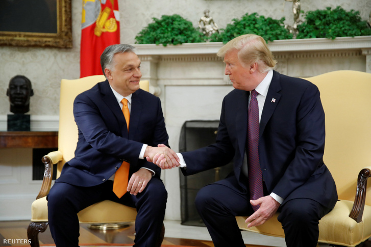Viktor Orbán and Donald Trump in the White House on 13 May 2019.