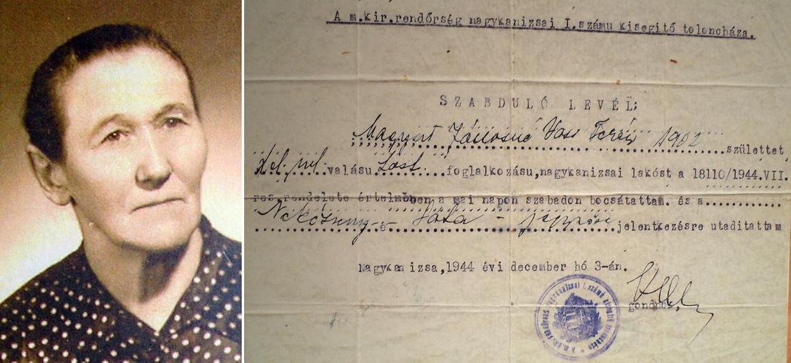 A Jehova Tanúi közé tartozó Magyar Jánosné arcképe és 1944-es szabadulólevele