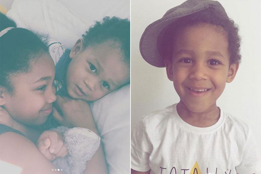 Az énekesnő három szép gyermeke: kislánya, Liza kisebbik fiával Kamal Milannal, jobb oldalt nagyobbik fia, Liam látható.