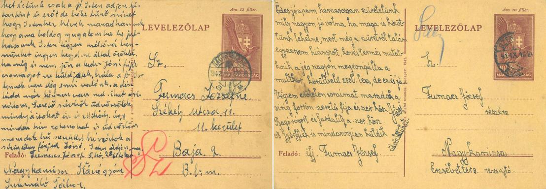 A nazarénus Fumacs József internálótáborból hazaküldött lapja és a fia hozzá írt levele