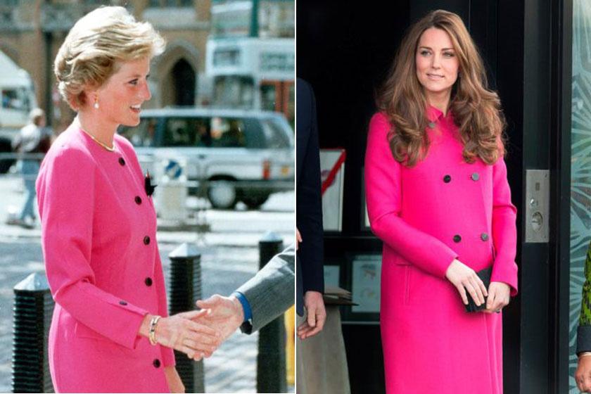 Mindkettejüknek remekül állt ez a pink kabátruha. A különbség csak annyi, hogy Dianáé jóval testhez állóbb, míg Katalin egy bővebb fazonúra voksolt.