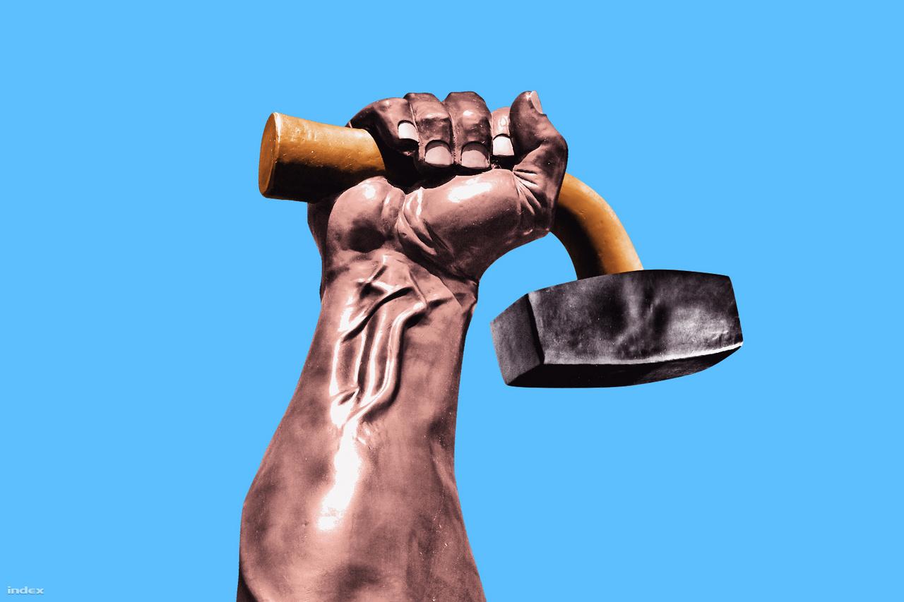 Ezen a témán rengeteget ült, végül a legelső ötletet valósította meg. A kalapács és a kéz különböző képből lett összeillesztve.