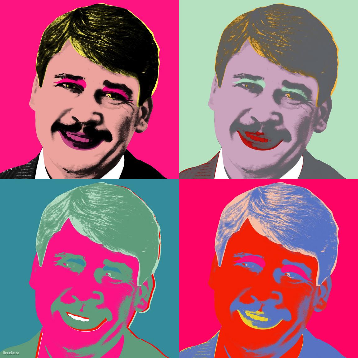 """Már régóta akart magyar politikusról készíteni egy Warhol-szerű, négyes portrét, aztán Áder János újraválasztásánál jelentkezett a lehetőség. Ez nem kifejezetten egy cikkhez készül, hanem az Index címlapján, négy, különböző, egymás mellé helyezett cikk címlapképe volt. Szarvas szerint Orbán adta volna magát, hogy egy hasonló portré készüljön róla, de azt sajnos már Nagy Kriszta lelőtte évekkel ezelőtt. Szarvas egy az egyben a Warhol-képek mintázatát követte, """"megnéztem, hogy csinálta, megpróbáltam reprodukálni, """"mintha egy hamisítvány lenne.""""                          Áder újra választásánál volt a a kombó clk a címlapon"""