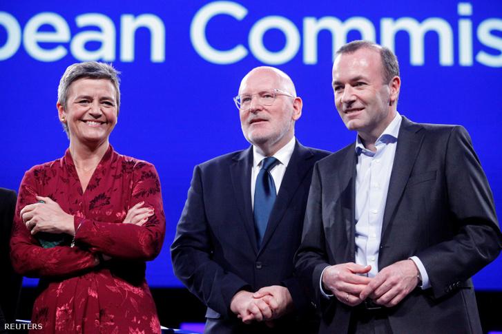 A liberálisoktól a dán EU-biztos Margrethe Vestager, az európai szocialistáktól Frans Timmermans és az Európai Néppárt részéről Manfred Weber.