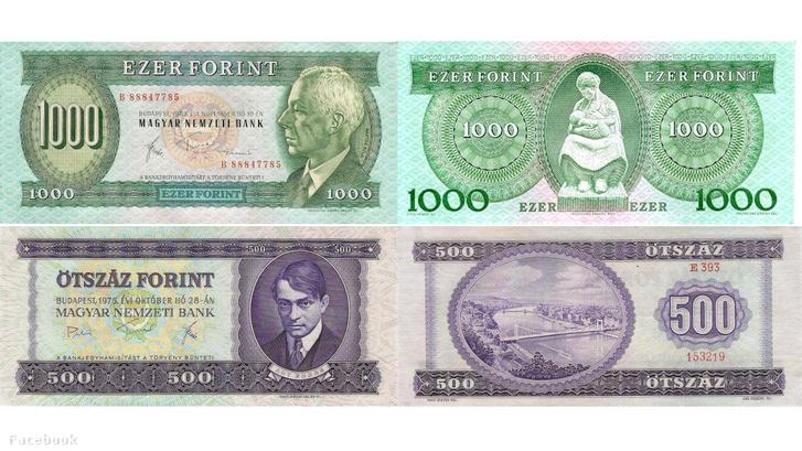 Bartók Béla portréjával ellátott 1000 forintos és a lila színű, Ady Endre arcképével díszített 500 forintos bankjegy