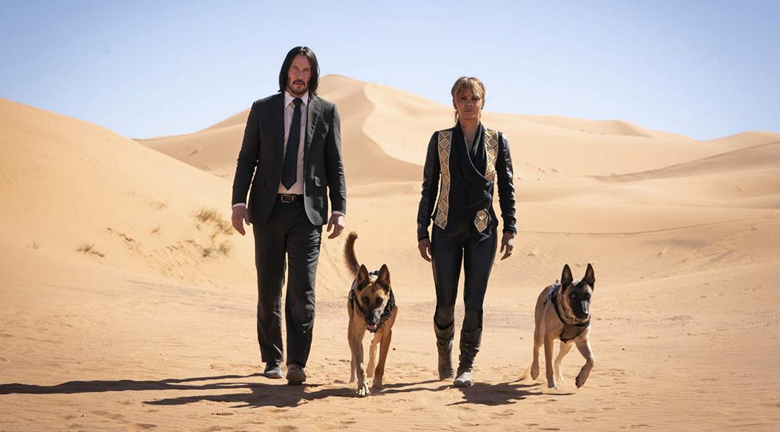 Keanu Reeves és Halle Berry a John Wick: 3. felvonás c. film forgatásán