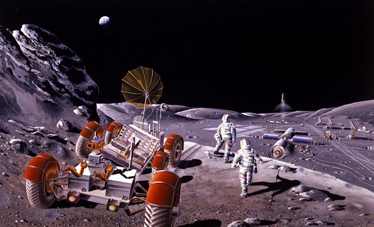 Kissé retróscifis hanhulatú koncepciórajz a majdani űrbányászokról