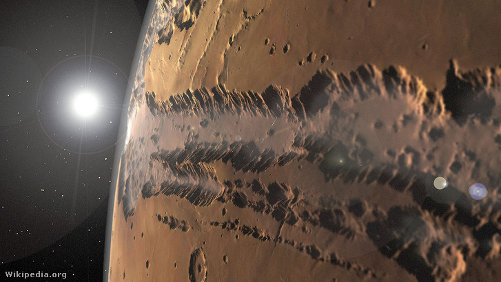 A Viking űrszondák képei alapján renderelt kép a Valles Marineris kanyonról.