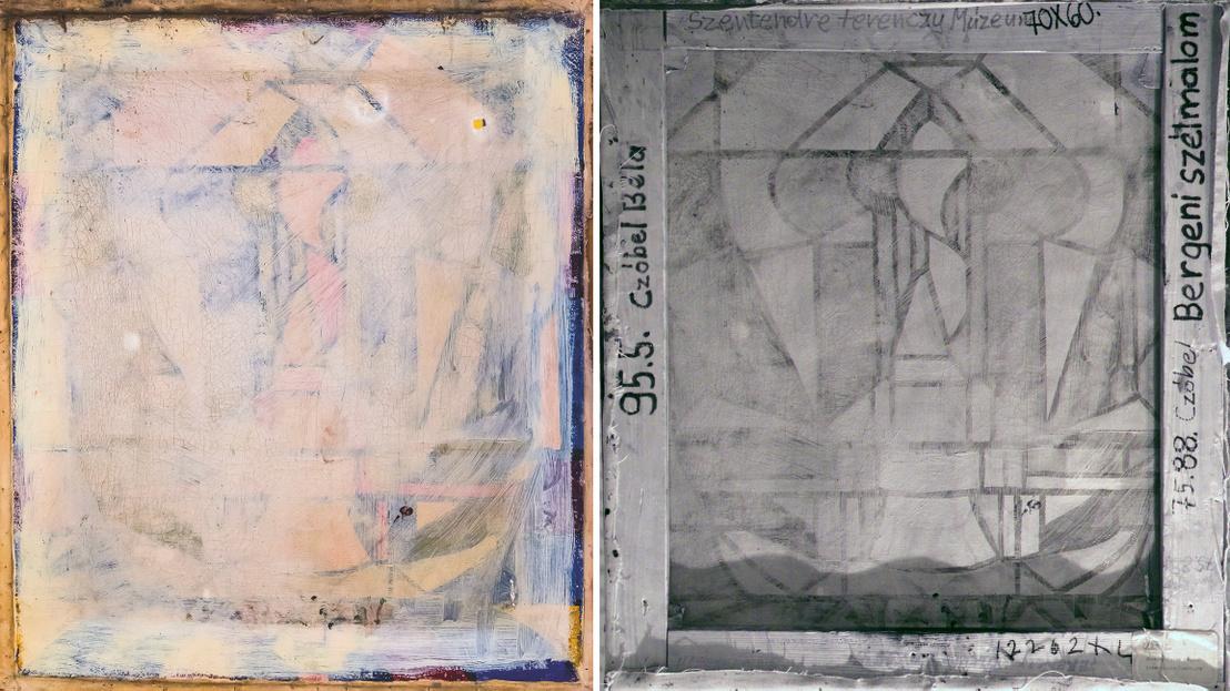 Bal oldalon: A Bergeni szélmalom hátoldala a vakrámáról leszedve; Jobb oldalon: Röntgenfelvétel a Bergeni szélmalom hátoldaláról