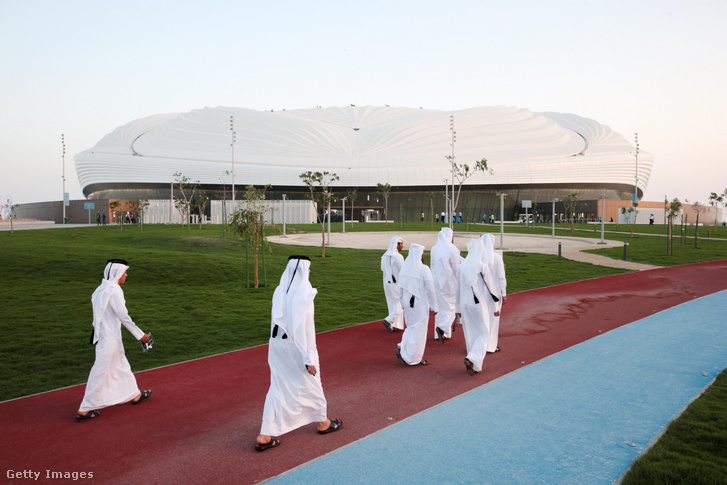Qatari men arrive to Al Wakrah Stadium on May 16 2019 in Al Wakrah Qatar. Qatar's Supreme Committee for Delivery Legacy launches Al Wakrah Stadium the second FIFA World Cup Qatar 2022 (TM) venue.