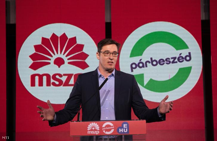 Karácsony Gergely beszédet mond az MSZP Szövetségben Európával című kampányrendezvényén. MTI/Mohai Balázs