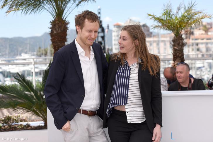 Clara Royer és Nemes Jeles László Cannes-ban 2015-ben