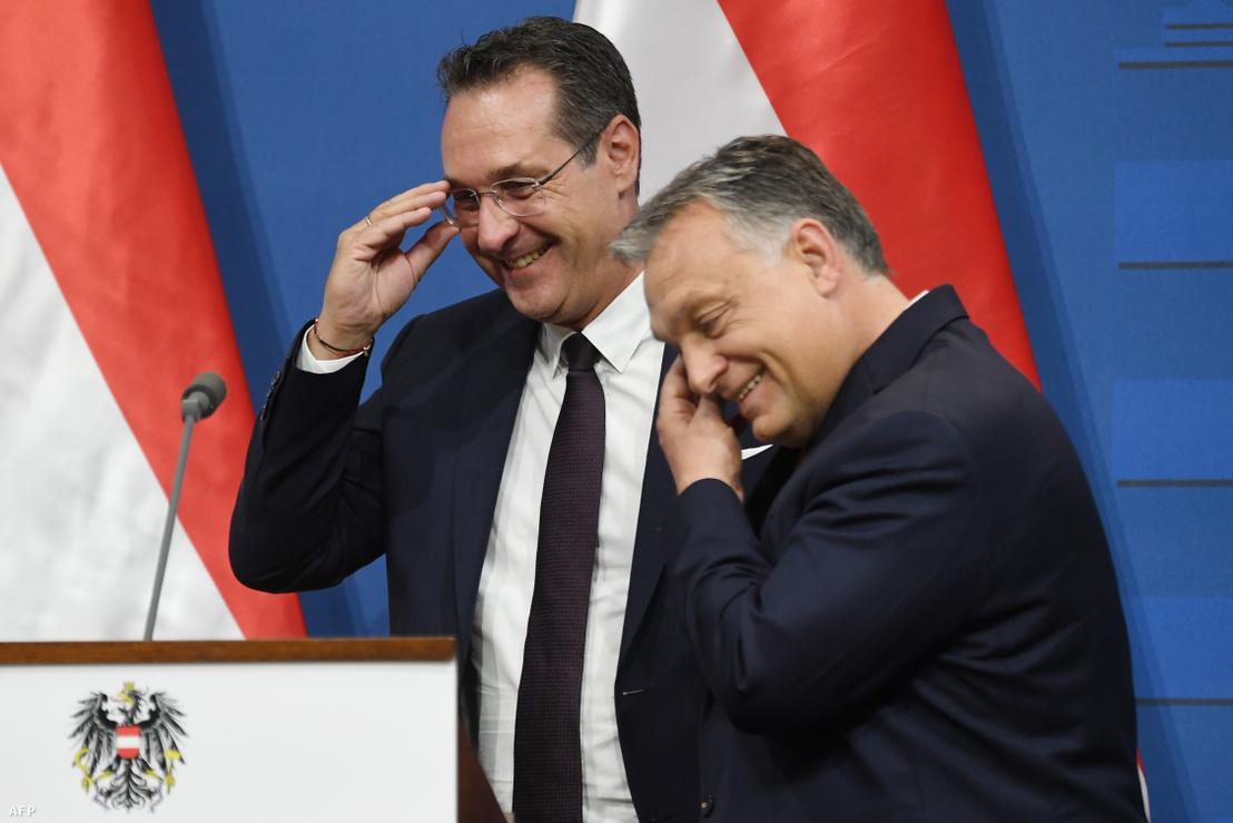 Heinz-Christian Strache és Orbán Viktor budapesti találkozójuk alkalmával 2019. május 6-án.