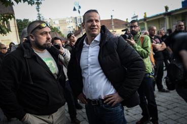 Toroczkai László a tüntetés előtt nyilatkozott a sajtónak
