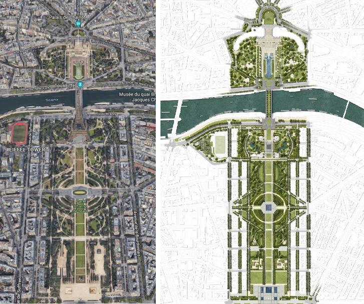 Az Eiffel-torony parkjának terve és a jelenlegi állapot műholdképen.