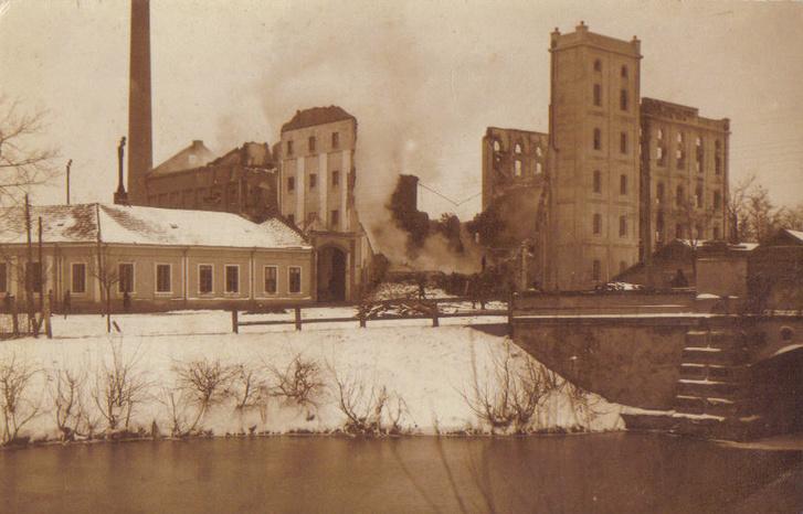 István malom 1915-ben a lisztpor robbanás után