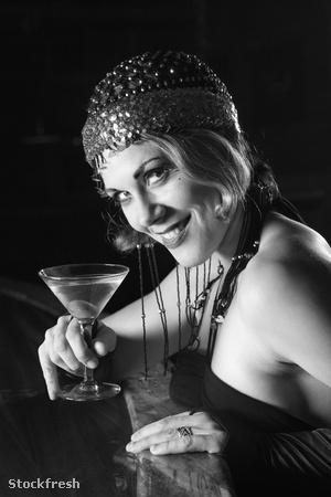 stockfresh 5973 retro-female-with-martini sizeM