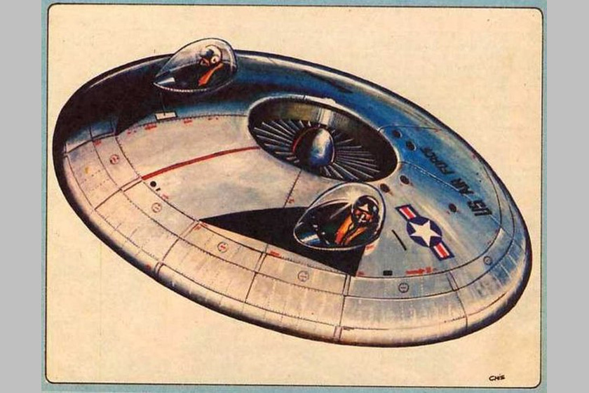 Ez eddig egy sci-fi képregényből kivágott rajz is lehetne, de nem erről van szó: az amerikai hadsereg az ötvenes években valóban repülő csészealjat épített.