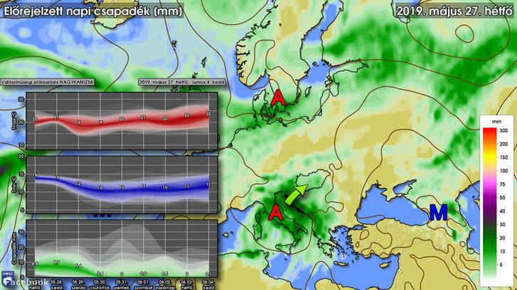 A térképen a hétfői csapadék előrejelzés látható, illetve egy mediterrán ciklon kibontakozása