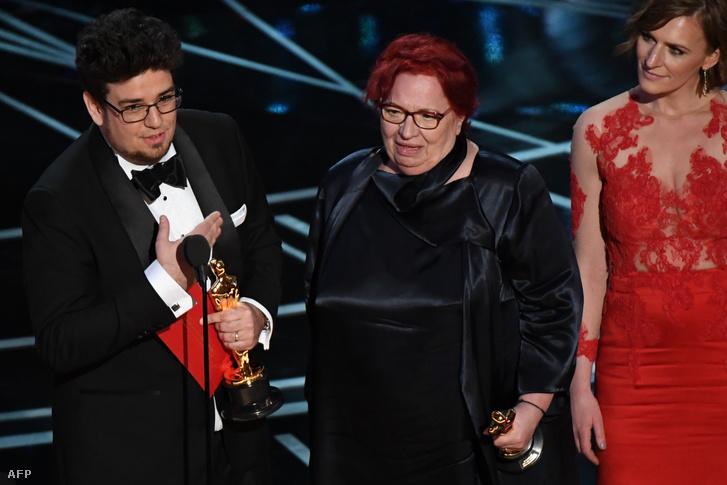Deák Kristóf és Udvardy Anna az Oscar-gálán 2017-ben.