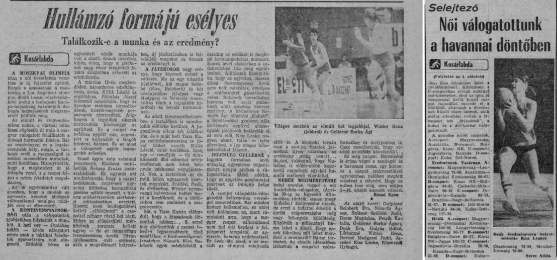 Újságcikkek a Népsport, 1984. áprilisi és májusi számából