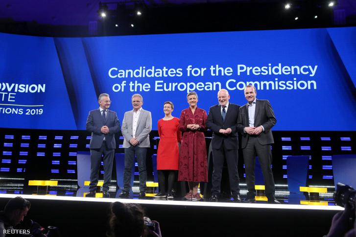 Május 15-én vitafórumot rendeztek Brüsszelben. A képen balról jobbra: Jan Zahradil (ACRE), Nico Cue (EL), Ska Keller (EGP), Margrethe Vestager (ALDE), Frans Timmermans (PES) és Manfred Weber (EPP)