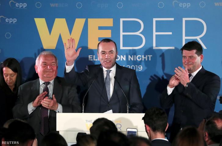 Manfred Weber beszél Brüsszelben a Néppárt (EPP) választási rendezvényén 2019. május 26-án