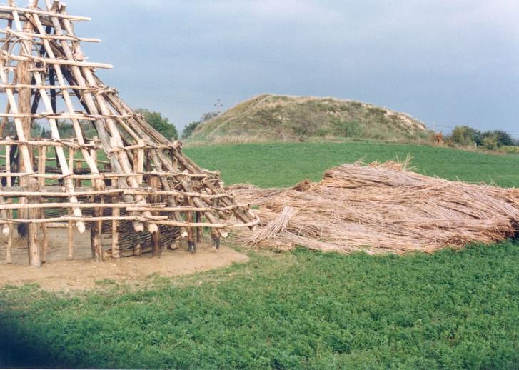 A százhalombattai régészeti park kísérleti régészei által rekonstruált lakóház építés közben