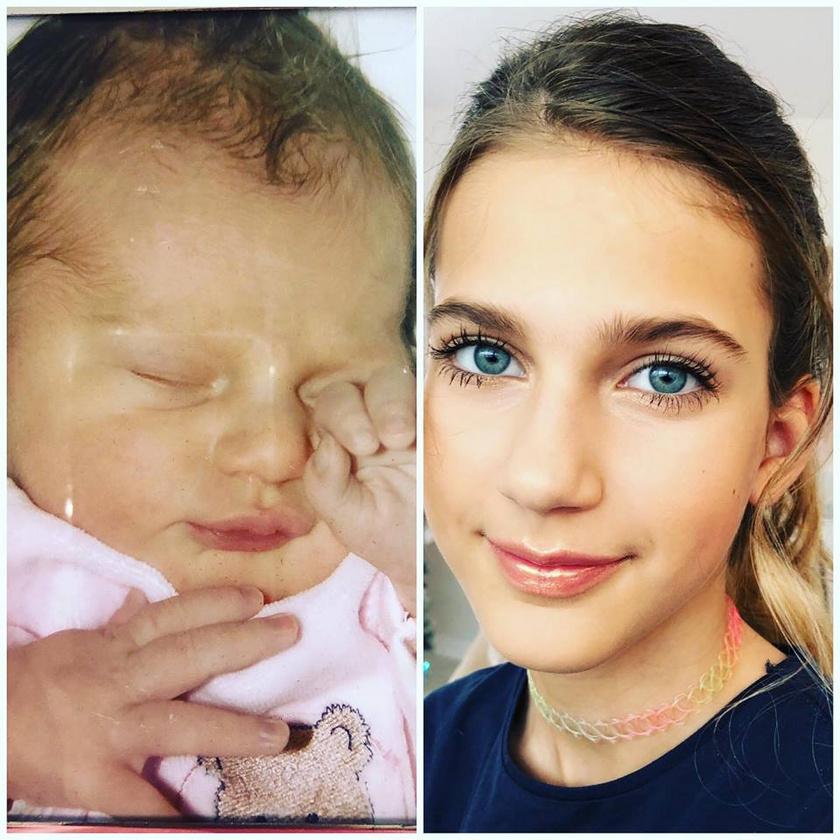 Várkonyi Andrea egy szem lányát ezzel a fotómontázzsal köszöntötte fel 12. születésnapja alkalmából. Nóri már kész kis hölgy a jobb oldali képen.