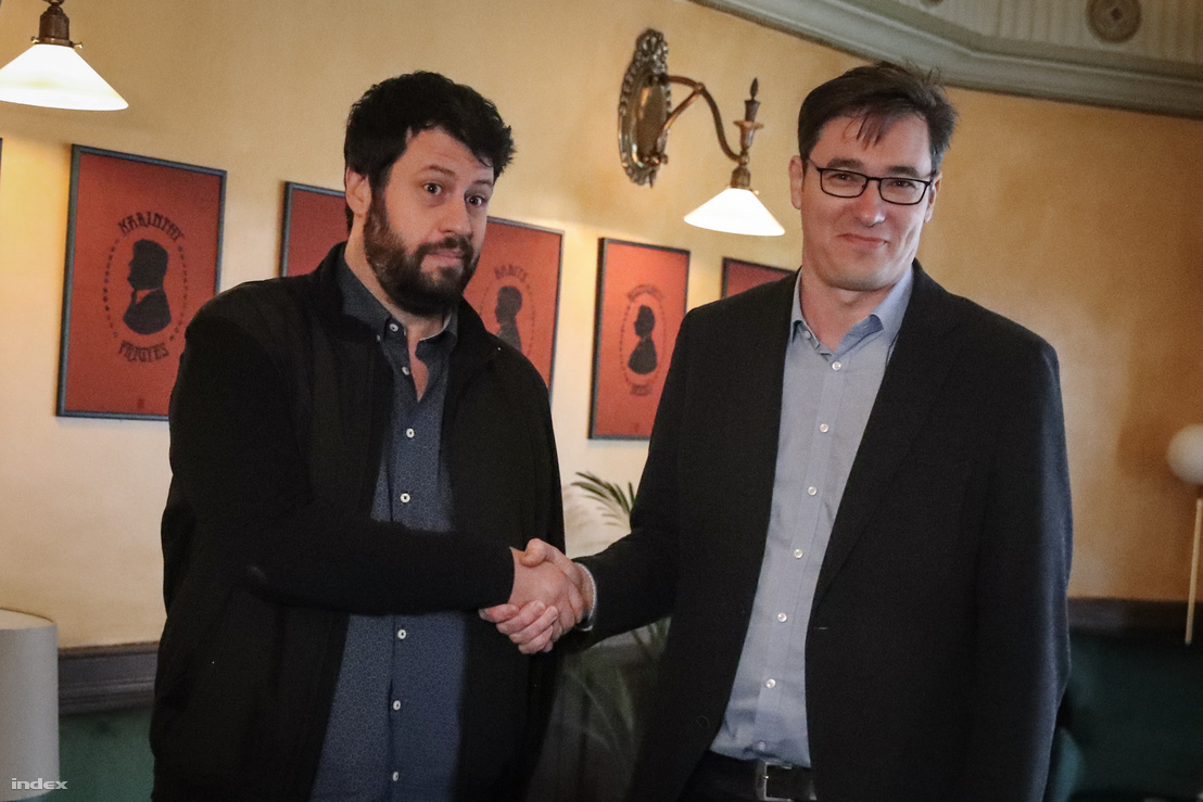 Puzsér Róbert és Karácsony Gergely az előválasztásról tartott vita után 2019. március 13-án