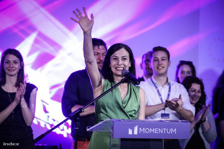 Cseh Katalin a Momentum eredményváró rendezvényén Budapesten 2019. május 28-án