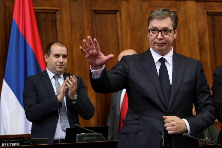 Aleksandar Vucic a szerb parlamentben 2019. május 27-én
