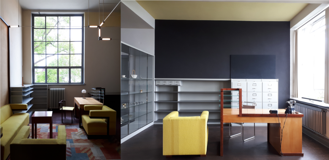 Gropius rekonstruált igazgatói szobája Weimarban (balra) és Dessauban (jobbra). A maga tervezte asztalt és az ülőgarniturát magával vitte, de saját székét már Breuer Marcellére cserélte az új helyen. A szoba egyes tereit a mennyezet és a fal színezésével jelölték