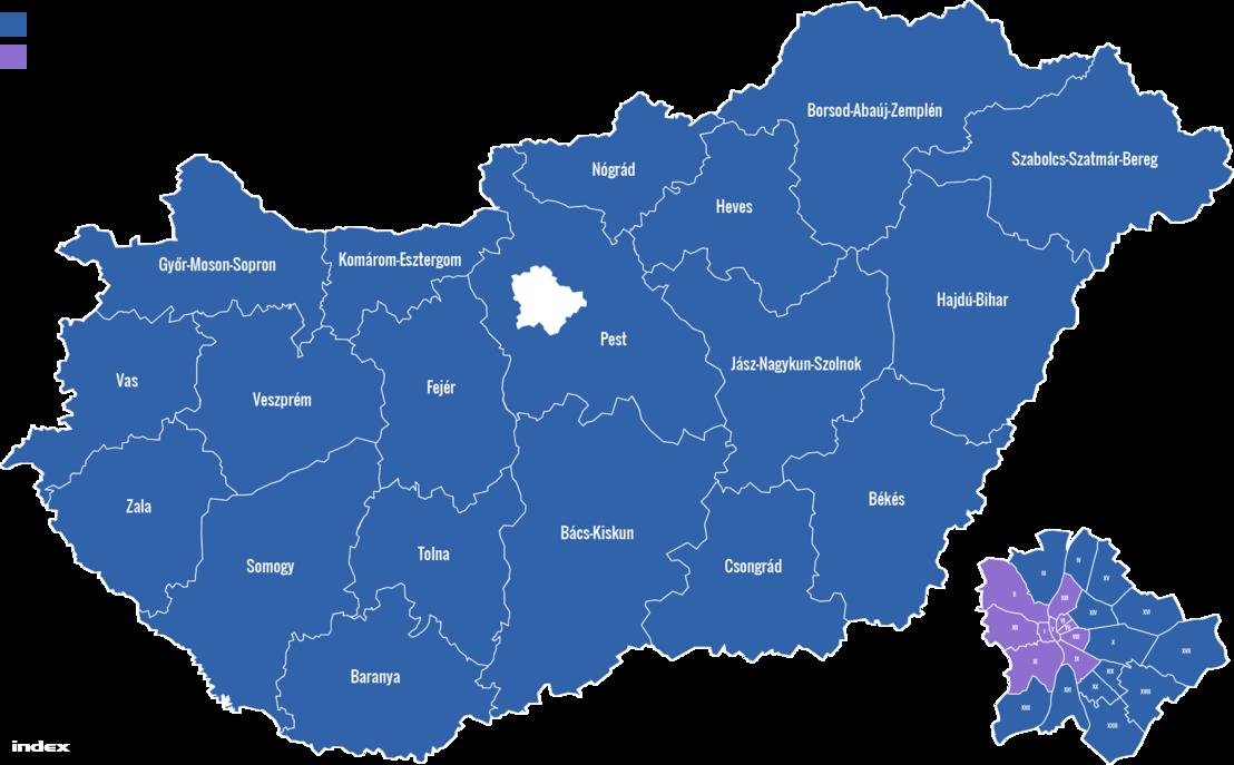 Térkép a 2019-es EP választáson 2. helyen végzett pártokról