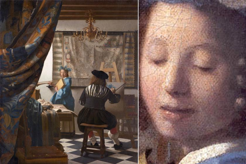 Vermeer A festőművészet című képe Clióval - jobbra nagyítva. A hasonlóságok valóban felfedezhetők.