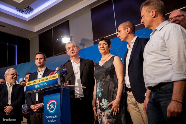 A DK eredményváró rendezvénye az EP-választás napján 2019. május 26-án.
