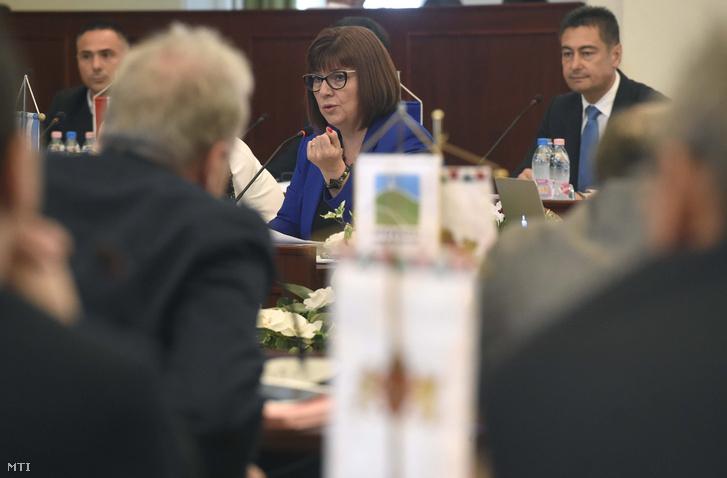 Gy. Németh Erzsébet a DK képviselője beszél mögötte Horváth Csaba az MSZP fővárosi képviselője a közgyűlésen