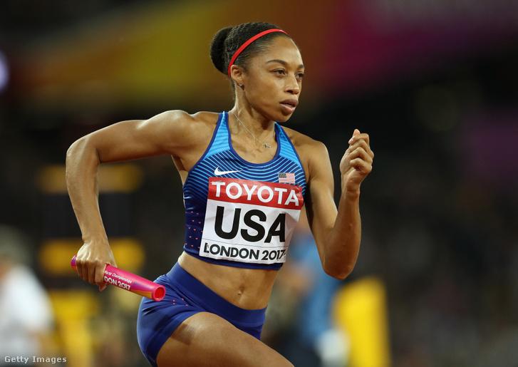 Az amerikai Allyson Felix a 4x400 méteres váltó világbajnoki döntőjében Londonban 2017. augusztus 13-án