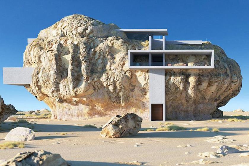 Szaúd-Arábia sziklasírjai elvarázsolták és megihlették az építészt, aki ilyen modern lakásokat tervezett a vájatokba.